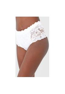 Calcinha Dilady Hot Pant Renda Redutora Branca