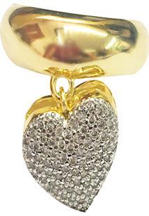 Anel Kumbayá Pingente De Coração Grande Semijoia Banho De Ouro 18K Cravejado Com Zircônias Brancas Detalhes Em Ródio