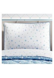 Capa Travesseiro Infantil Branco Estrelas Gráo De Gente Azul