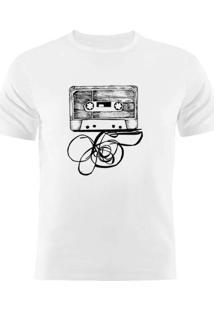 Camiseta Manga Curta Nerderia Fita Cassete Branco