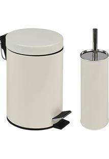 Kit Lixeira 3L Com Pedal E Escova Para Vaso Sanitário Mor - Bege