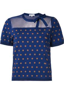 Nk Blusa Kim Poá De Tricô - Azul