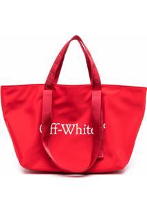 Off-White Bolsa Tote Commercial Pequena - Vermelho