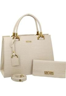 Kit Selten Bolsa Handbag Textura Croco Alça Removível & Carteira Feminina - Feminino-Creme