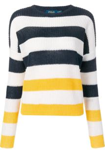 Polo Ralph Lauren Ribbed Knitted Striped Jumper - Azul