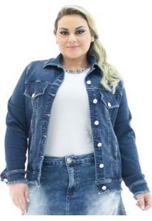 Jaqueta Jeans Confidencial Extra Plus Size Over Com Barra Desfiada Feminina - Feminino-Azul Escuro