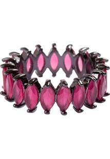 Anel Aliança Navetes The Ring Boutique Pedras Cristais Vermelho Rubi Ródio Negro