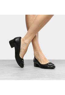 Scarpin Couro Comfortflex Salto Baixo Com Fivela - Feminino-Preto