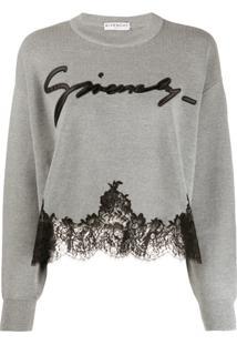 Givenchy Suéter De Tricô Com Renda Na Barra - Cinza