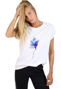 Camiseta Joss Estampada Rose Neon Feminina - Feminino-Branco