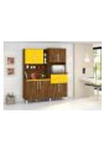 Armário Cozinha Completa Rubi 8 Portas Malbec Amarelo