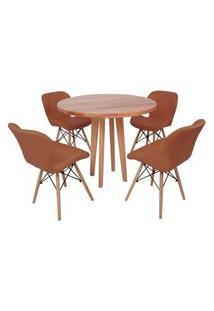 Conjunto Mesa De Jantar Em Madeira 90Cm Com Base Vértice + 4 Cadeiras Slim - Marrom