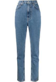 Helmut Lang Calça Jeans Cenoura Cintura Alta - Azul