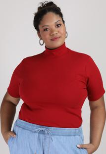 Blusa Feminina Plus Size Canelada Manga Curta Gola Alta Vermelha