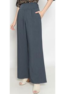 Calça Pantalona Listrada- Cinza & Azul- Operateoperate