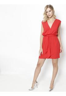 5f427a63b0 ... Vestido Liso Com Babado- Vermelho- Colccicolcci