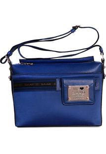 Bolsa Saad Crossbody Couro Com Nylon Azul