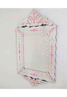 Espelho Veneziano Decorativo, Sala, Luiz Xv Plus Rosa 63X119