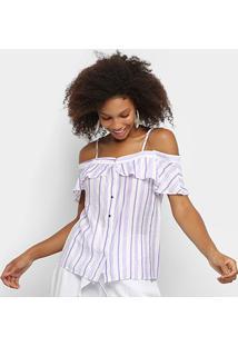 Blusa Lily Fashion Open Shoulder Listrada Feminina - Feminino-Lilás