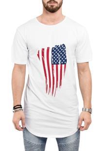Camiseta Criativa Urbana Long Line Oversized Bandeira Usa Eua - Masculino-Branco