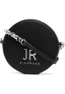 John Richmond Bolsa Transversal Redonda Com Logo Bordado - Preto