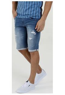 Bermuda Masculina Jeans Puídos Rock & Soda