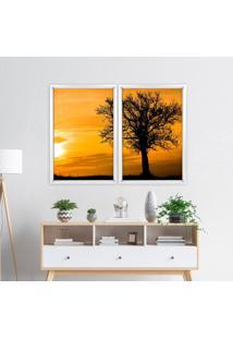 Quadro Love Decor Com Moldura Chanfrada Por Do Sol Com Árvore Branco - Grande