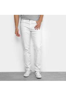 Calça Sarja Reta Ellus Color Power Straight Masculina - Masculino-Branco