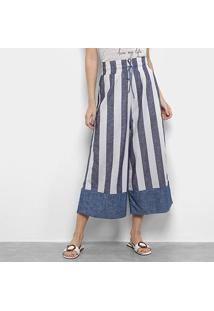 Calça Pantacourt Enna Super High Feminina - Feminino-Azul