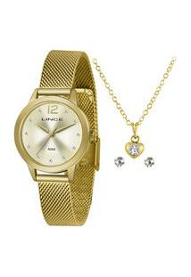 Kit Relógio Feminino Lince Analógico Lrgh141L Ky25C2Kx + Brinco + Colar Dourado