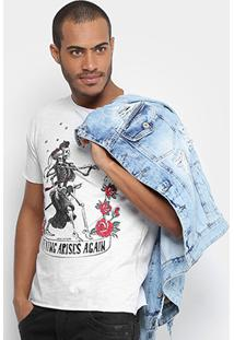 Camiseta Local Estampada Masculina - Masculino-Branco