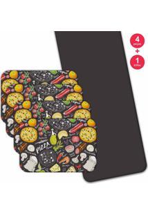 Jogo Americano Love Decor Com Caminho De Mesa Wevans Pizza Kit Com 4 Pçs 1 Trilho