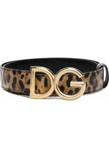 Dolce & Gabbana Cinto De Couro Com Estampa De Logo - Marrom