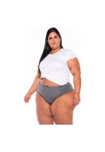 Calcinha Cotton Renda Cinza Plus Size Xm Ao G5 Multicolorido