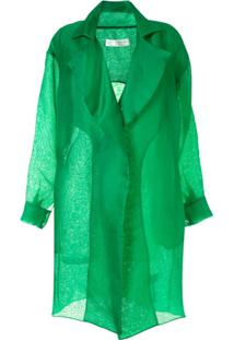 The 2Nd Skin Co. Organza Trench Coat - Verde