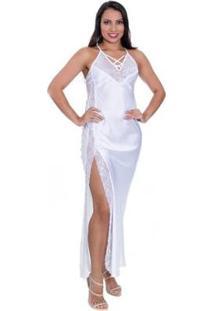 f2934b0aa6cf7d Zattini Camisola Cetim Longa Fenda Vermelha Preta Branca Em Feminino-Branco  Estilo - Sedutor Calcinha Com