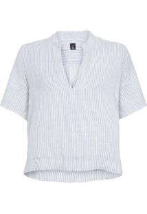 Camisa Mc Linho Striped Osklen - Azul