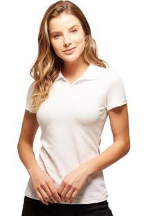 Camisa Polo Basicamente Tradidiconal Feminina - Feminino-Branco