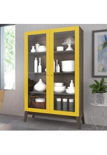 Cristaleira 2 Portas De Vidro 0808 Demolição/Amarelo - Genialflex