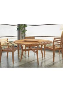 Jogo De Mesa Quarter Com 3 Cadeiras Em Madeira Maciça Jatobá - Mão & Formão