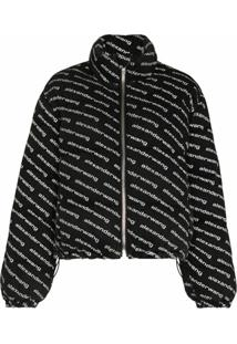 Alexander Wang Diagonal-Logo Zip-Up Puffer Jacket - Preto
