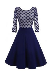 Vestido Vintage Rodado Design De Bolinhas - Azul