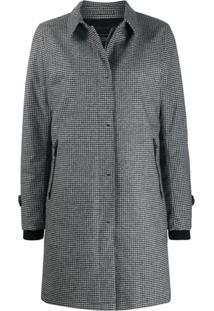 Herno Check Single-Breasted Coat - Cinza