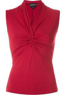 Emporio Armani Blusa Com Torção Drapeada - Vermelho