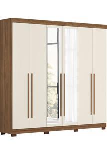Guarda-Roupa Casal 6 Portas Com Espelho Belém-Móveis Albatroz - Canela / Off White