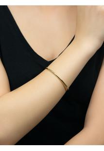 Pulseira Deouro 18K Feminina Bracelete Oval Dura.
