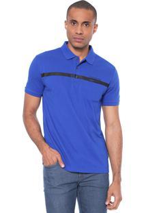 Camisa Polo Calvin Klein Jeans Reta Listra Azul