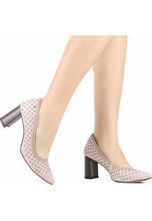 Sapato Scarpin Tanara Couro Salto Grosso Rosa