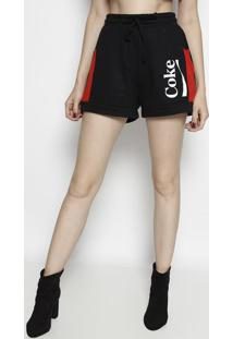 """Short """"Cokeâ®"""" Em Moletinho- Preto & Vermelho- Coca-Ccoca-Cola"""