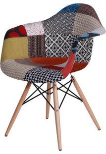 Cadeira Eames Com Braco Base Madeira Patchwork - 44819 - Sun House